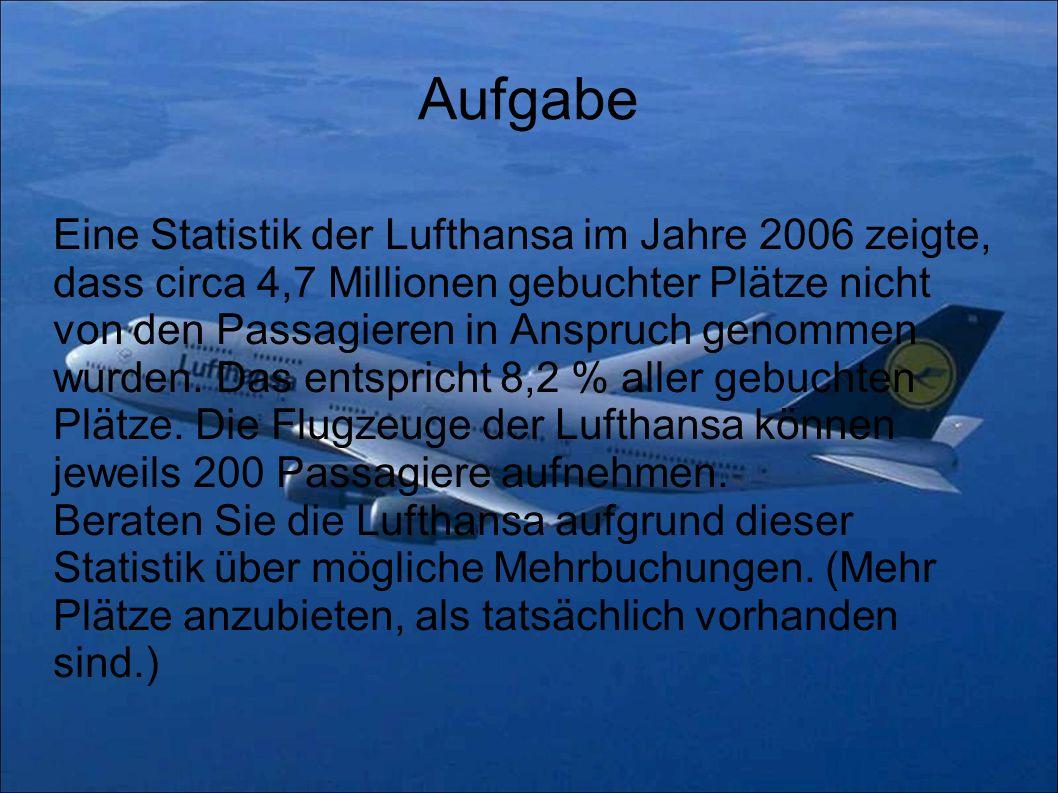 Aufgabe Eine Statistik der Lufthansa im Jahre 2006 zeigte, dass circa 4,7 Millionen gebuchter Plätze nicht von den Passagieren in Anspruch genommen wu