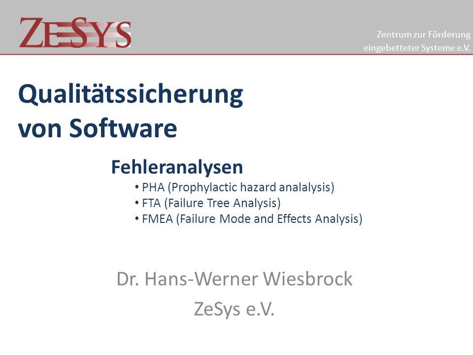 Dr. Hans-Werner Wiesbrock ZeSys e.V. Zentrum zur Förderung eingebetteter Systeme e.V. Qualitätssicherung von Software Fehleranalysen PHA (Prophylactic