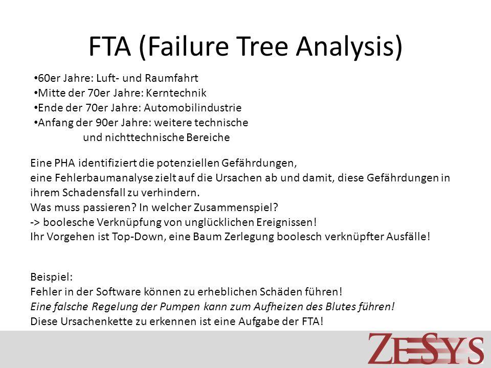 FTA (Failure Tree Analysis) Eine PHA identifiziert die potenziellen Gefährdungen, eine Fehlerbaumanalyse zielt auf die Ursachen ab und damit, diese Ge