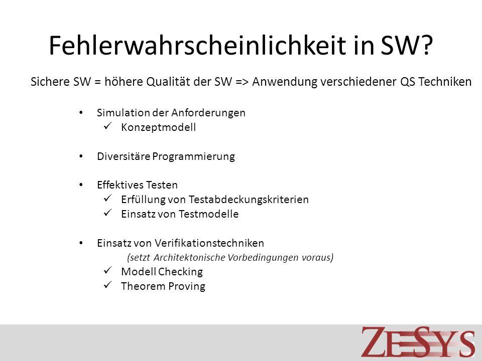 Fehlerwahrscheinlichkeit in SW? Sichere SW = höhere Qualität der SW => Anwendung verschiedener QS Techniken Simulation der Anforderungen Konzeptmodell