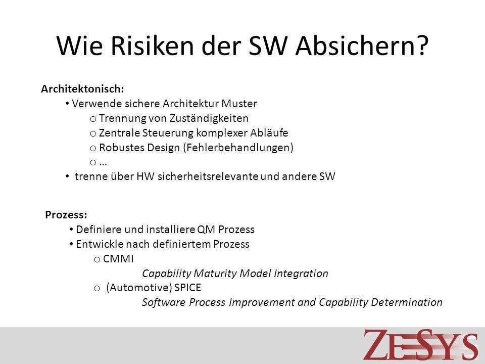 Wie Risiken der SW Absichern? Architektonisch: Verwende sichere Architektur Muster o Trennung von Zuständigkeiten o Zentrale Steuerung komplexer Abläu