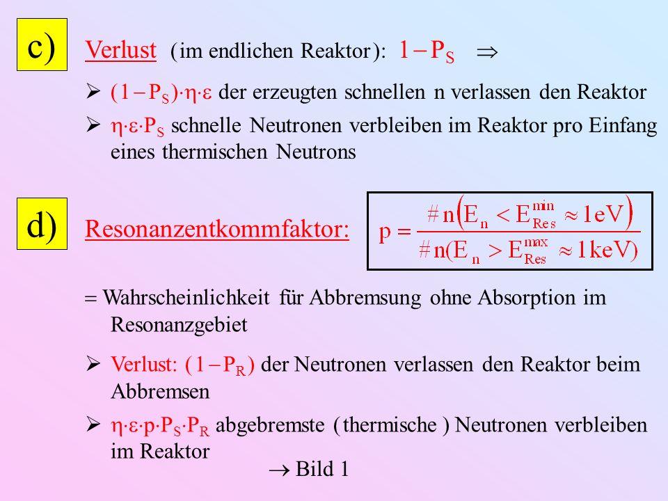 c) Verlust ( im endlichen Reaktor ): 1 P S ( 1 P S ) der erzeugten schnellen n verlassen den Reaktor P S schnelle Neutronen verbleiben im Reaktor pro Einfang eines thermischen Neutrons d) Resonanzentkommfaktor: Wahrscheinlichkeit für Abbremsung ohne Absorption im Resonanzgebiet Verlust: ( 1 P R ) der Neutronen verlassen den Reaktor beim Abbremsen p P S P R abgebremste ( thermische ) Neutronen verbleiben im Reaktor Bild 1