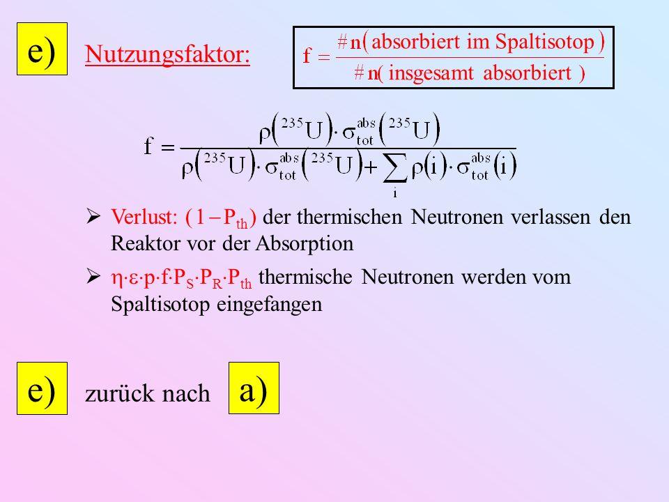 e) Nutzungsfaktor: Verlust: ( 1 P th ) der thermischen Neutronen verlassen den Reaktor vor der Absorption p f P S P R P th thermische Neutronen werden vom Spaltisotop eingefangen absorbiert im Spaltisotop insgesamt absorbiert zurück nach e) a)