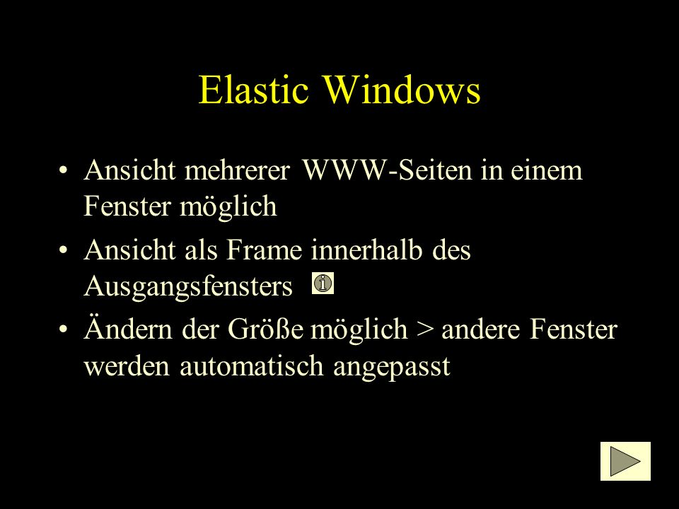 Elastic Windows Kritik: –Platzverbrauch durch offene Fenster –Sekundäre Fenster teilweise sehr stark verkleinert