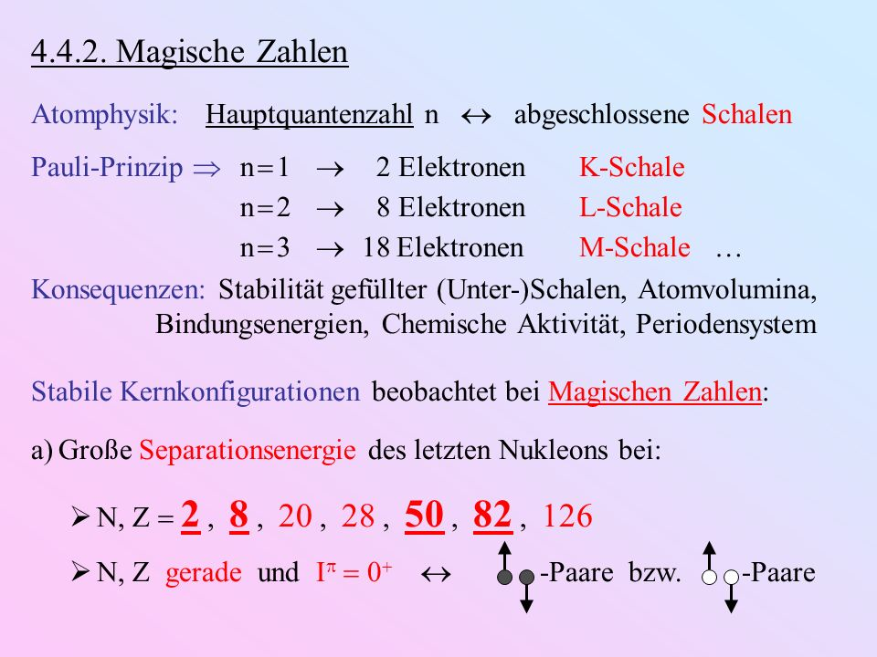 4.4.2. Magische Zahlen Atomphysik: Hauptquantenzahl n abgeschlossene Schalen Pauli-Prinzip n 1 2 ElektronenK-Schale n 2 8 ElektronenL-Schale n 3 18 El