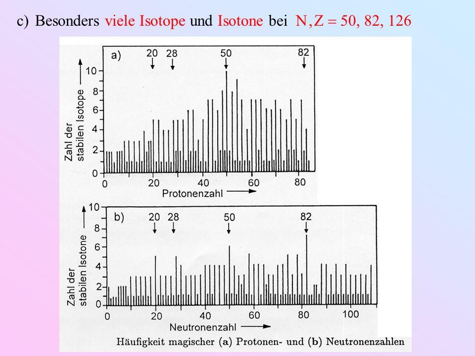 c)Besonders viele Isotope und Isotone bei N, Z 50, 82, 126