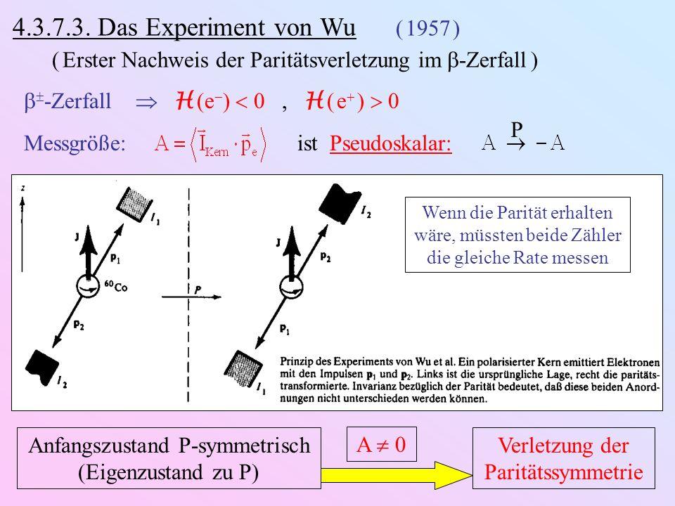 4.3.7.3. Das Experiment von Wu ( 1957 ) ( Erster Nachweis der Paritätsverletzung im -Zerfall ) -Zerfall H (e ) 0, H ( e ) 0 Messgröße: ist Pseudoskala