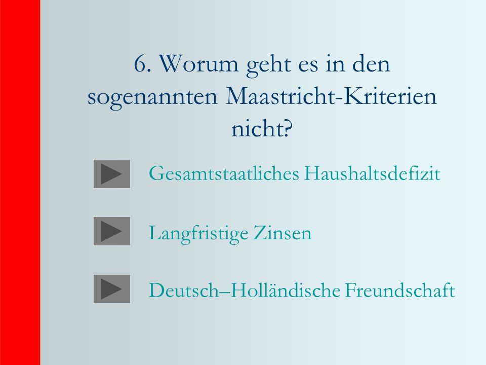 6.Worum geht es in den sogenannten Maastricht-Kriterien nicht.