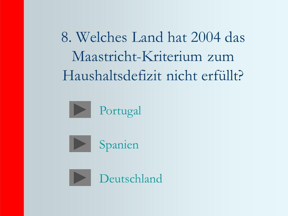 8.Welches Land hat 2004 das Maastricht-Kriterium zum Haushaltsdefizit nicht erfüllt.