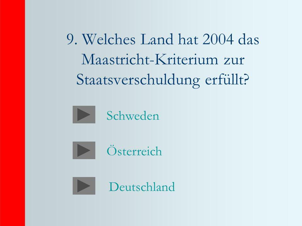 9.Welches Land hat 2004 das Maastricht-Kriterium zur Staatsverschuldung erfüllt.