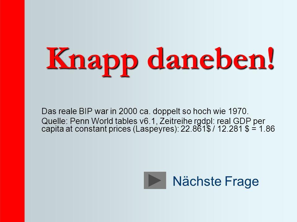 Knapp daneben.Das reale BIP war in 2000 ca. doppelt so hoch wie 1970.