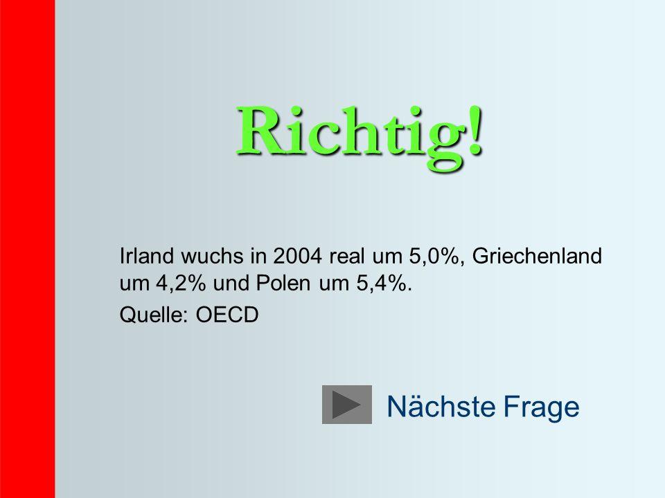 Richtig! Irland wuchs in 2004 real um 5,0%, Griechenland um 4,2% und Polen um 5,4%. Quelle: OECD