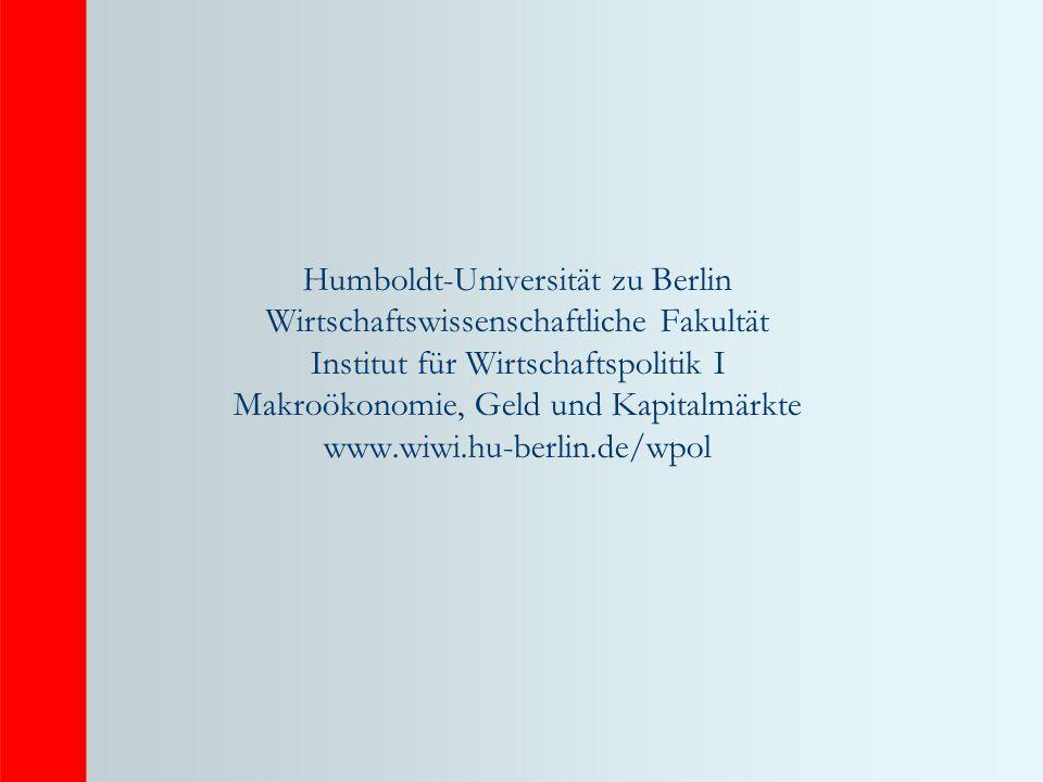 Humboldt-Universität zu Berlin Wirtschaftswissenschaftliche Fakultät Institut für Wirtschaftspolitik I Makroökonomie, Geld und Kapitalmärkte www.wiwi.hu-berlin.de/wpol