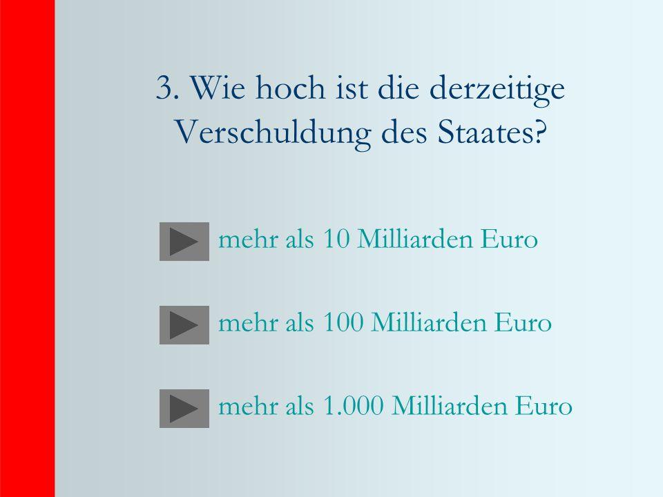 3.Wie hoch ist die derzeitige Verschuldung des Staates.