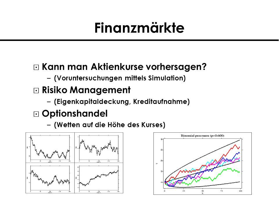 Finanzmärkte Kann man Aktienkurse vorhersagen? – (Voruntersuchungen mittels Simulation) Risiko Management – (Eigenkapitaldeckung, Kreditaufnahme) Opti