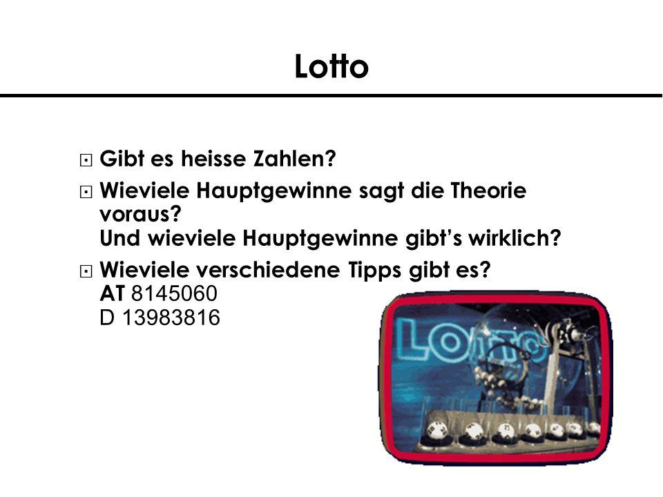 Lotto Stammtischlotto (2 aus 6) Keine Zahlen unter 31 Test auch Gleichverteilung (Qualitätskontrolle) Verschiedene Ziehungsmaschinen (D, AT)