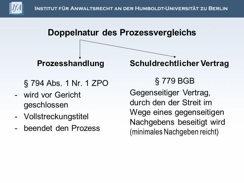 Doppelnatur des Prozessvergleichs Prozesshandlung § 794 Abs. 1 Nr. 1 ZPO -wird vor Gericht geschlossen -Vollstreckungstitel -beendet den Prozess Schul