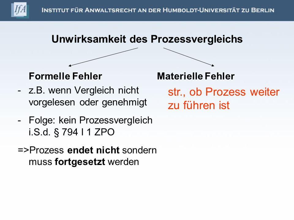 Unwirksamkeit des Prozessvergleichs Formelle Fehler -z.B. wenn Vergleich nicht vorgelesen oder genehmigt -Folge: kein Prozessvergleich i.S.d. § 794 I