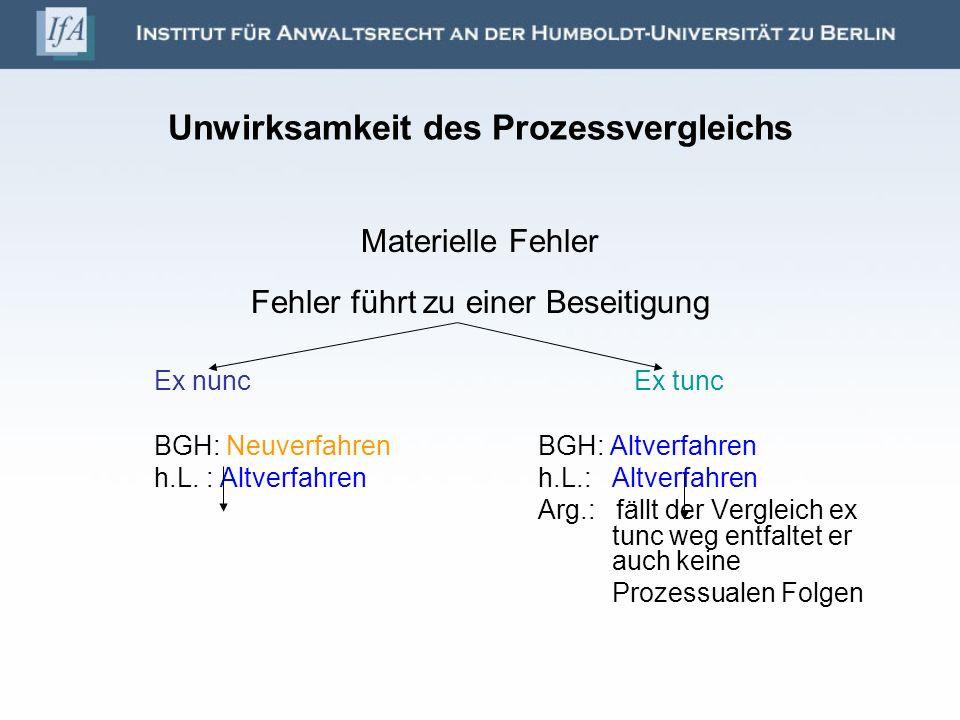 Unwirksamkeit des Prozessvergleichs Materielle Fehler Fehler führt zu einer Beseitigung Ex nuncEx tunc BGH: NeuverfahrenBGH: Altverfahren h.L. : Altve