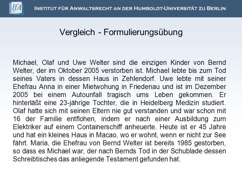 Michael, Olaf und Uwe Welter sind die einzigen Kinder von Bernd Welter, der im Oktober 2005 verstorben ist. Michael lebte bis zum Tod seines Vaters in