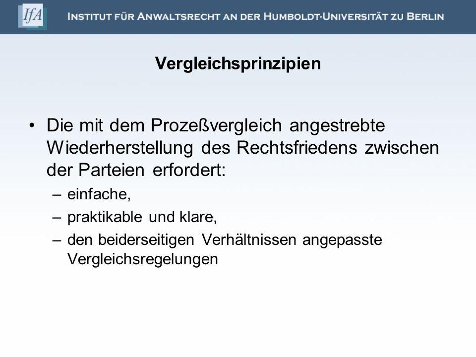 Vergleichsprinzipien Die mit dem Prozeßvergleich angestrebte Wiederherstellung des Rechtsfriedens zwischen der Parteien erfordert: –einfache, –praktik