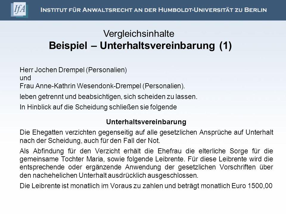Herr Jochen Drempel (Personalien) und Frau Anne-Kathrin Wesendonk-Drempel (Personalien). leben getrennt und beabsichtigen, sich scheiden zu lassen. In