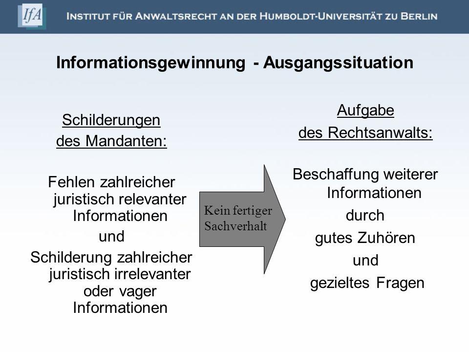 Informationsgewinnung - Ausgangssituation Schilderungen des Mandanten: Fehlen zahlreicher juristisch relevanter Informationen und Schilderung zahlreic