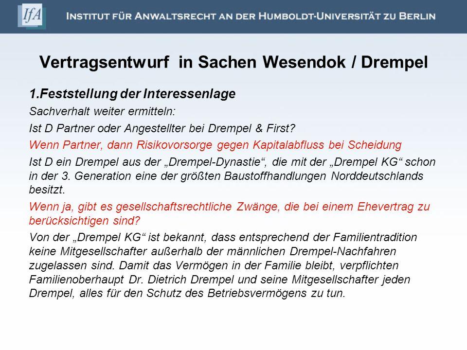 Vertragsentwurf in Sachen Wesendok / Drempel 1.Feststellung der Interessenlage Sachverhalt weiter ermitteln: Ist D Partner oder Angestellter bei Dremp