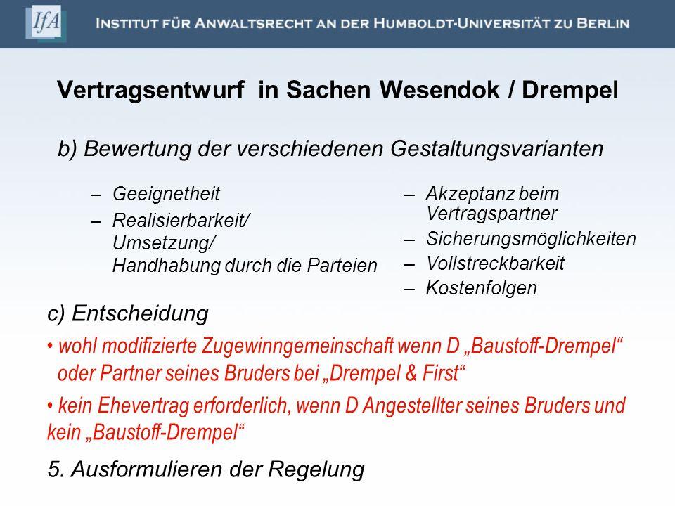 Vertragsentwurf in Sachen Wesendok / Drempel –Geeignetheit –Realisierbarkeit/ Umsetzung/ Handhabung durch die Parteien –Akzeptanz beim Vertragspartner