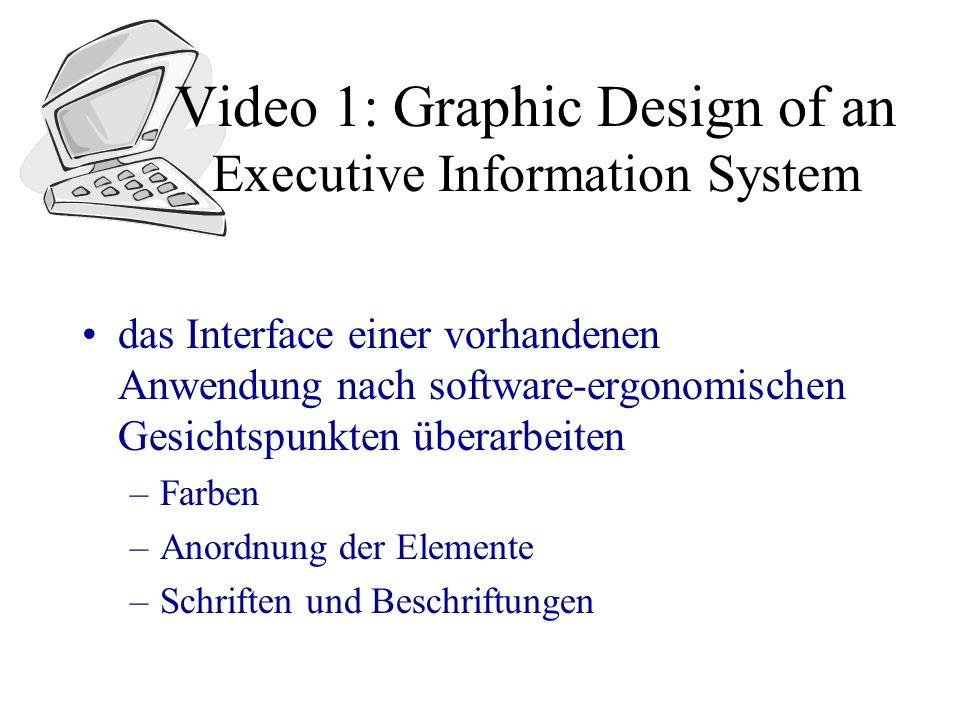 Video 1: Graphic Design of an Executive Information System das Interface einer vorhandenen Anwendung nach software-ergonomischen Gesichtspunkten überarbeiten –Farben –Anordnung der Elemente –Schriften und Beschriftungen