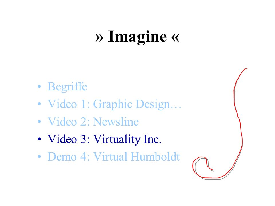 » Imagine « Begriffe Video 1: Graphic Design… Video 2: Newsline Video 3: Virtuality Inc. Demo 4: Virtual Humboldt