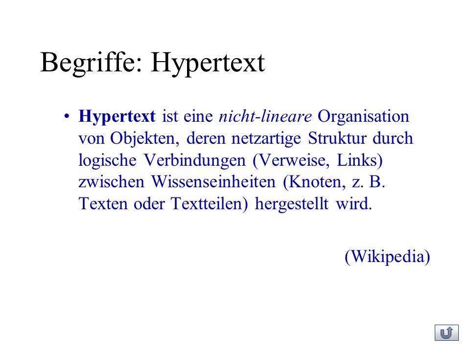 Begriffe: Hypertext Hypertext ist eine nicht-lineare Organisation von Objekten, deren netzartige Struktur durch logische Verbindungen (Verweise, Links) zwischen Wissenseinheiten (Knoten, z.