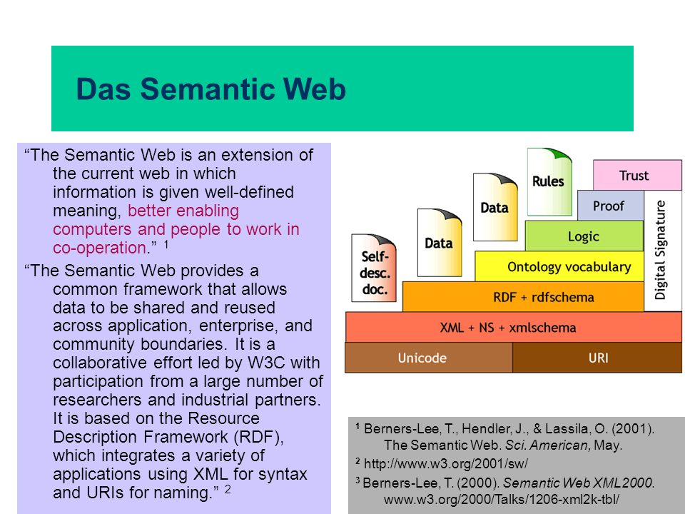 Das Semantic Web The Semantic Web is an extension of the current web in which information is given well-defined meaning, better enabling computers and