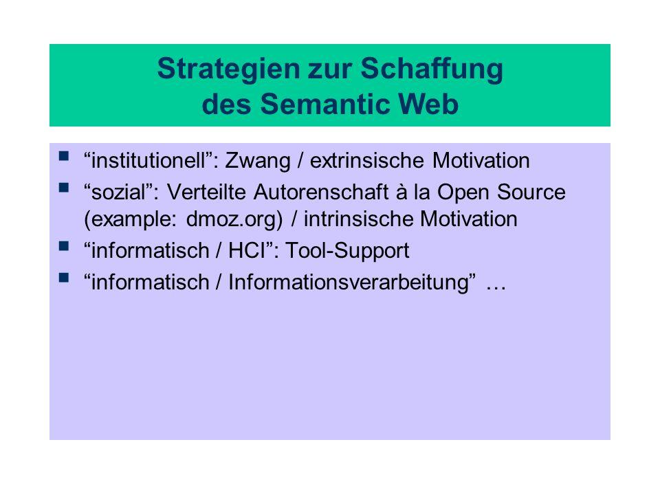 Strategien zur Schaffung des Semantic Web institutionell: Zwang / extrinsische Motivation sozial: Verteilte Autorenschaft à la Open Source (example: d
