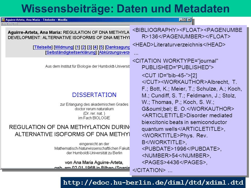 Wissensbeiträge: Daten und Metadaten 136 Literaturverzeichnis... [2] Albrecht, T. F.; Bott, K.; Meier, T.; Schulze, A.; Koch, M.; Cundiff, S. T.; Feld