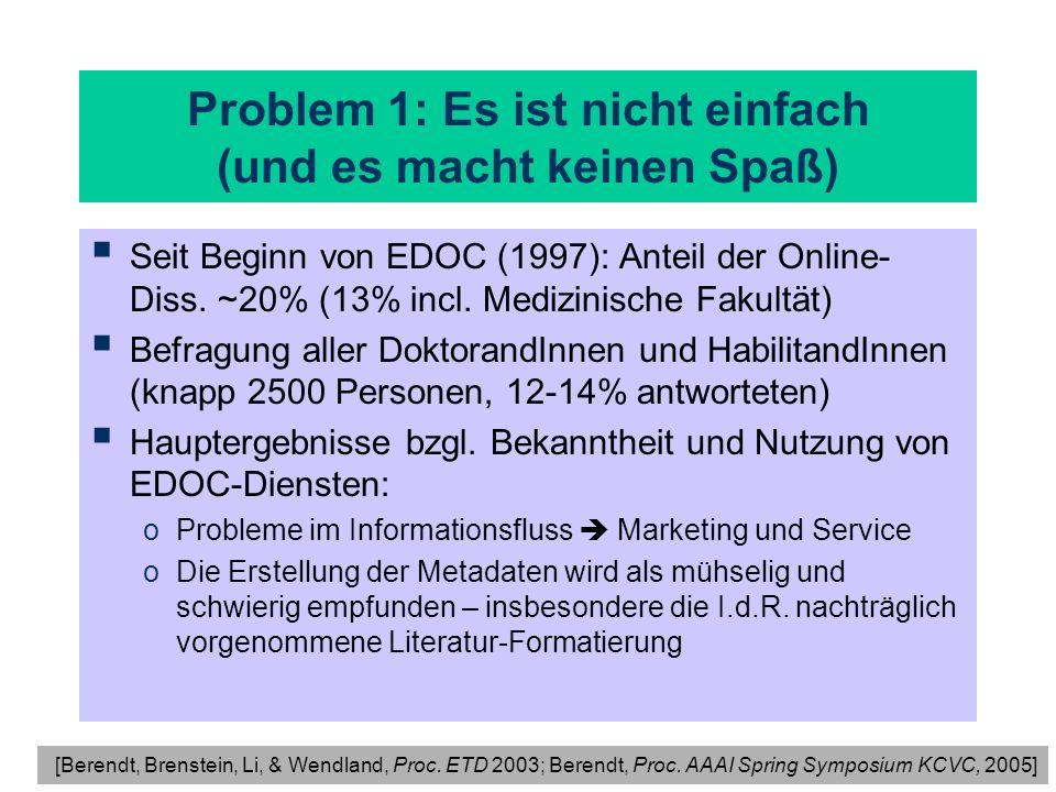 Problem 1: Es ist nicht einfach (und es macht keinen Spaß) Seit Beginn von EDOC (1997): Anteil der Online- Diss. ~20% (13% incl. Medizinische Fakultät