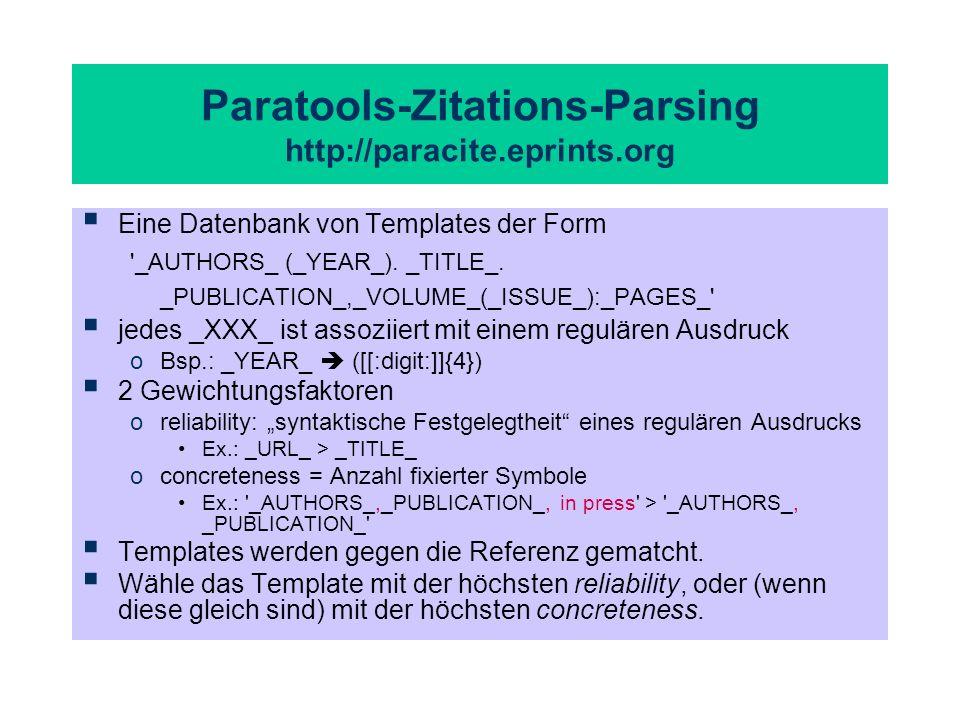 Paratools-Zitations-Parsing http://paracite.eprints.org Eine Datenbank von Templates der Form '_AUTHORS_ (_YEAR_). _TITLE_. _PUBLICATION_,_VOLUME_(_IS