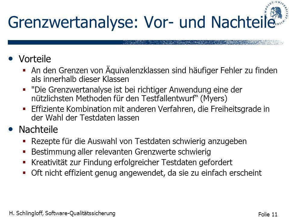 Folie 11 H. Schlingloff, Software-Qualitätssicherung Grenzwertanalyse: Vor- und Nachteile Vorteile An den Grenzen von Äquivalenzklassen sind häufiger
