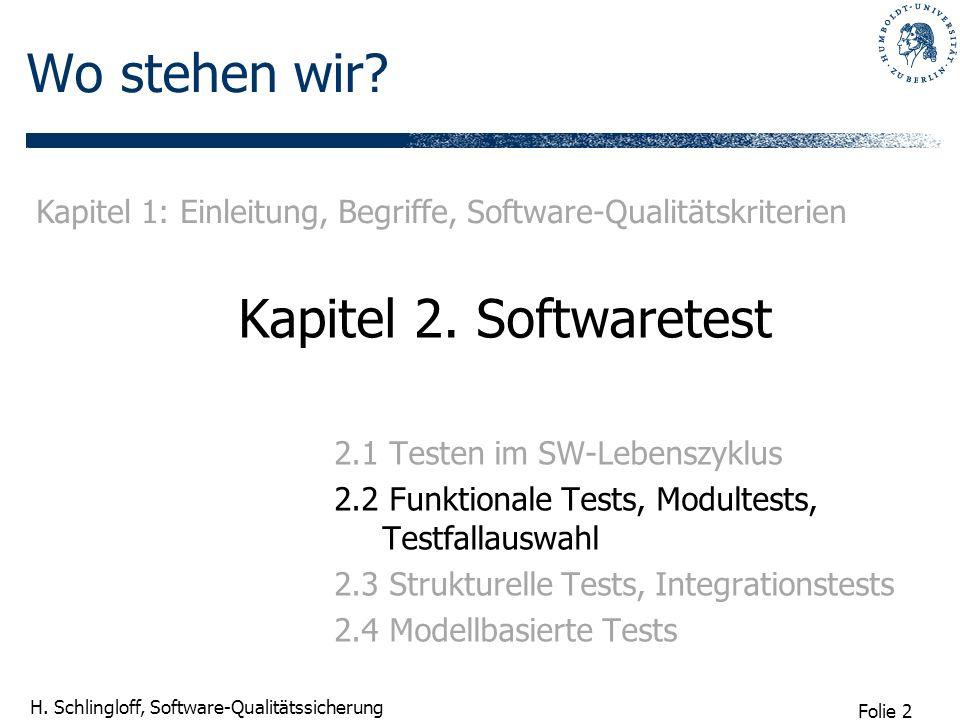 Folie 2 H. Schlingloff, Software-Qualitätssicherung Wo stehen wir? Kapitel 2. Softwaretest 2.1 Testen im SW-Lebenszyklus 2.2 Funktionale Tests, Modult