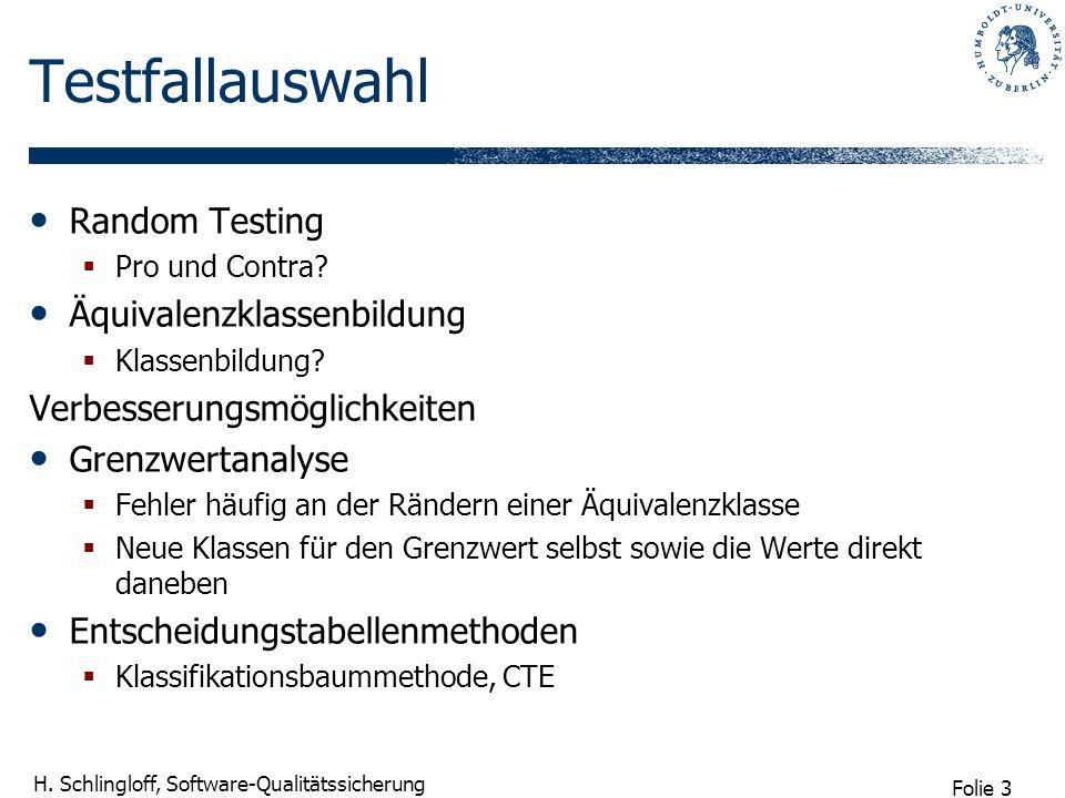 Folie 3 H. Schlingloff, Software-Qualitätssicherung Testfallauswahl Random Testing Pro und Contra? Äquivalenzklassenbildung Klassenbildung? Verbesseru