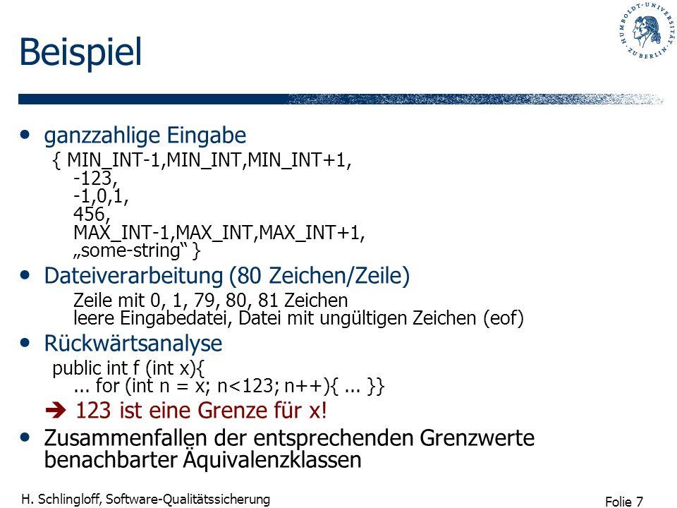 Folie 7 H. Schlingloff, Software-Qualitätssicherung Beispiel ganzzahlige Eingabe { MIN_INT-1,MIN_INT,MIN_INT+1, -123, -1,0,1, 456, MAX_INT-1,MAX_INT,M