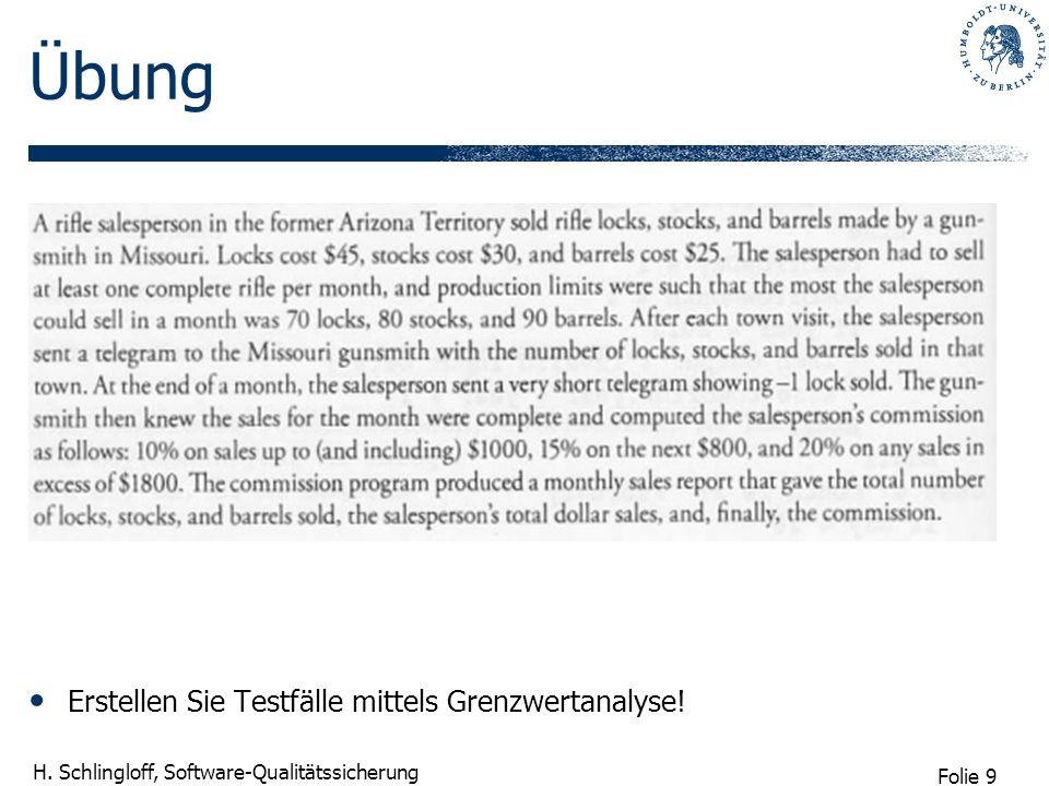 Folie 9 H. Schlingloff, Software-Qualitätssicherung Übung Erstellen Sie Testfälle mittels Grenzwertanalyse!