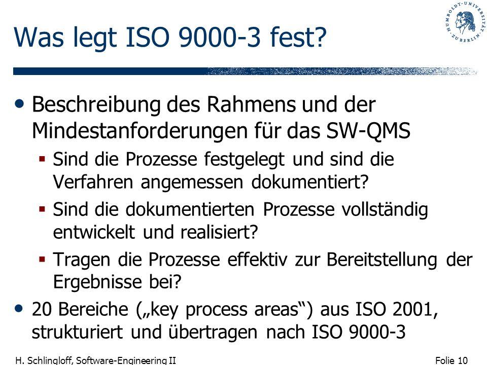 Folie 10 H. Schlingloff, Software-Engineering II Was legt ISO 9000-3 fest? Beschreibung des Rahmens und der Mindestanforderungen für das SW-QMS Sind d