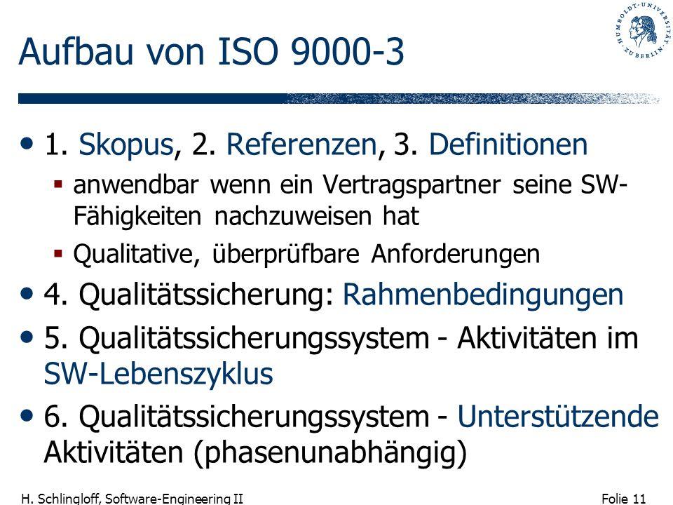 Folie 11 H. Schlingloff, Software-Engineering II Aufbau von ISO 9000-3 1. Skopus, 2. Referenzen, 3. Definitionen anwendbar wenn ein Vertragspartner se