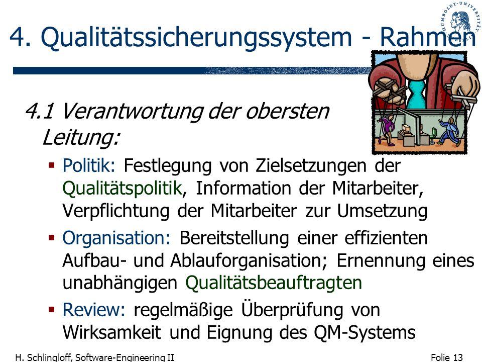 Folie 13 H. Schlingloff, Software-Engineering II 4. Qualitätssicherungssystem - Rahmen 4.1 Verantwortung der obersten Leitung: Politik: Festlegung von