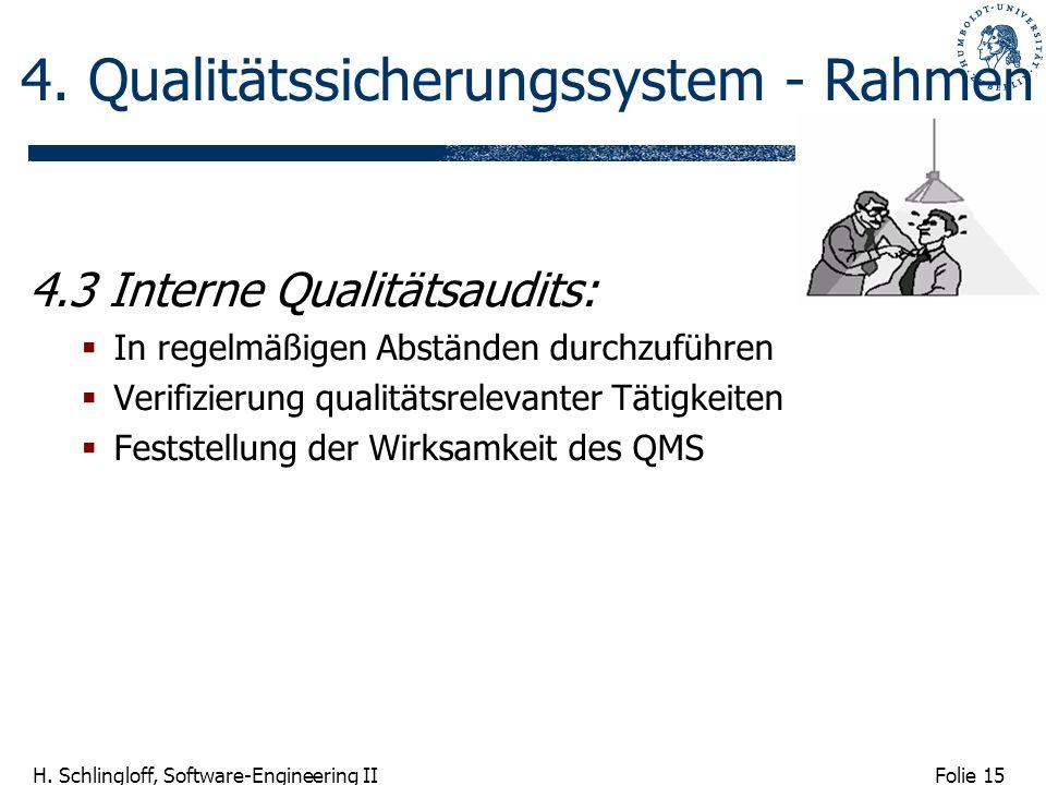 Folie 15 H. Schlingloff, Software-Engineering II 4. Qualitätssicherungssystem - Rahmen 4.3 Interne Qualitätsaudits: In regelmäßigen Abständen durchzuf