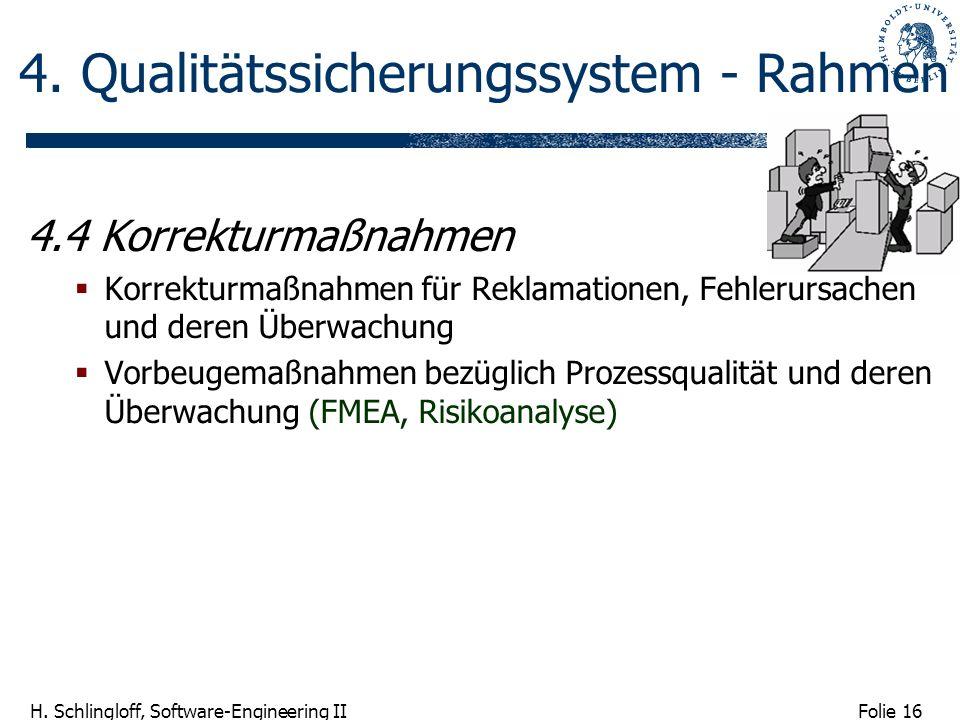 Folie 16 H. Schlingloff, Software-Engineering II 4. Qualitätssicherungssystem - Rahmen 4.4 Korrekturmaßnahmen Korrekturmaßnahmen für Reklamationen, Fe