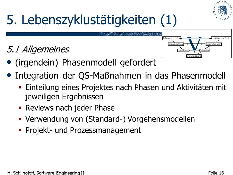 Folie 18 H. Schlingloff, Software-Engineering II 5. Lebenszyklustätigkeiten (1) 5.1 Allgemeines (irgendein) Phasenmodell gefordert Integration der QS-