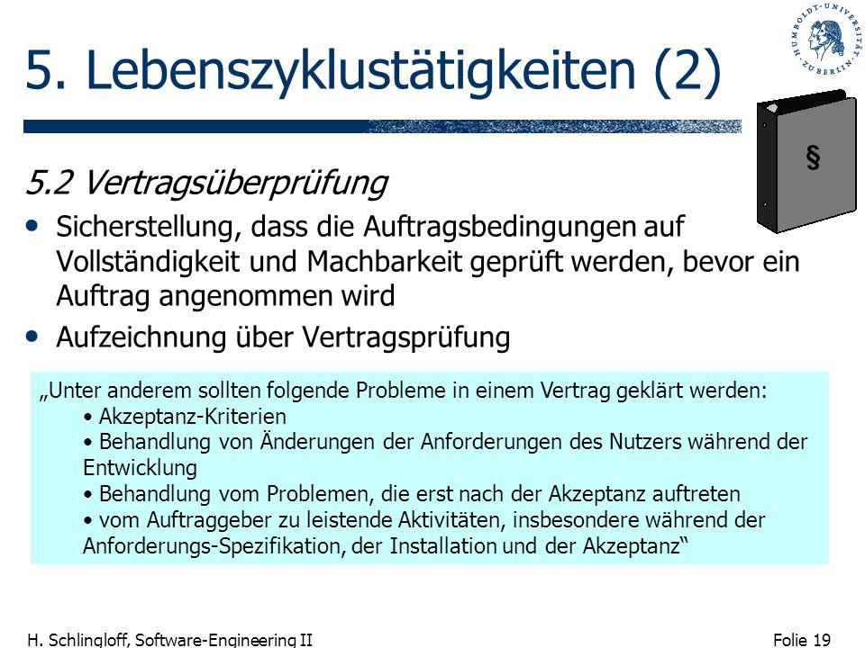 Folie 19 H. Schlingloff, Software-Engineering II 5. Lebenszyklustätigkeiten (2) 5.2 Vertragsüberprüfung Sicherstellung, dass die Auftragsbedingungen a