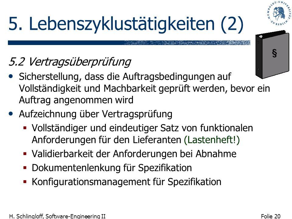 Folie 20 H. Schlingloff, Software-Engineering II 5. Lebenszyklustätigkeiten (2) 5.2 Vertragsüberprüfung Sicherstellung, dass die Auftragsbedingungen a